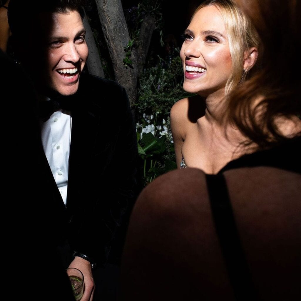 Colin Jost Scarlett Johansson Oscars fiesta