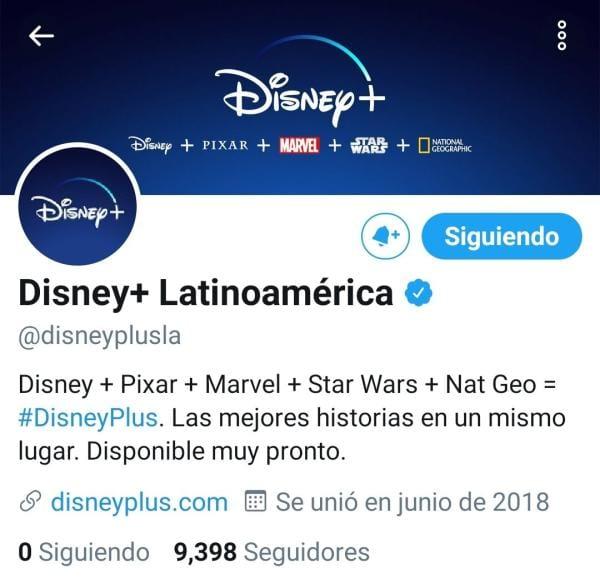 Disney + Latinoamérica twitter