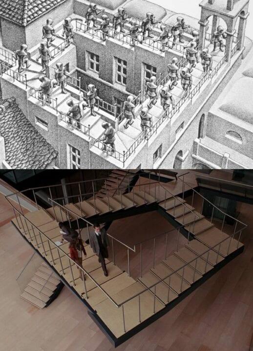 """""""Inception"""" (2010) de Christopher Nolan Escher """"Escaleras arriba, escaleras abajo"""" (1960)."""