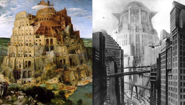 """""""Metrópolis"""" (1927) de Fritz Lang """"La torre de Babel"""" de Pieter Bruegel (1563)."""