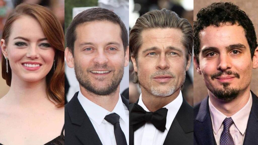Emma Stone, Brad Pitt y Tobey Maguire