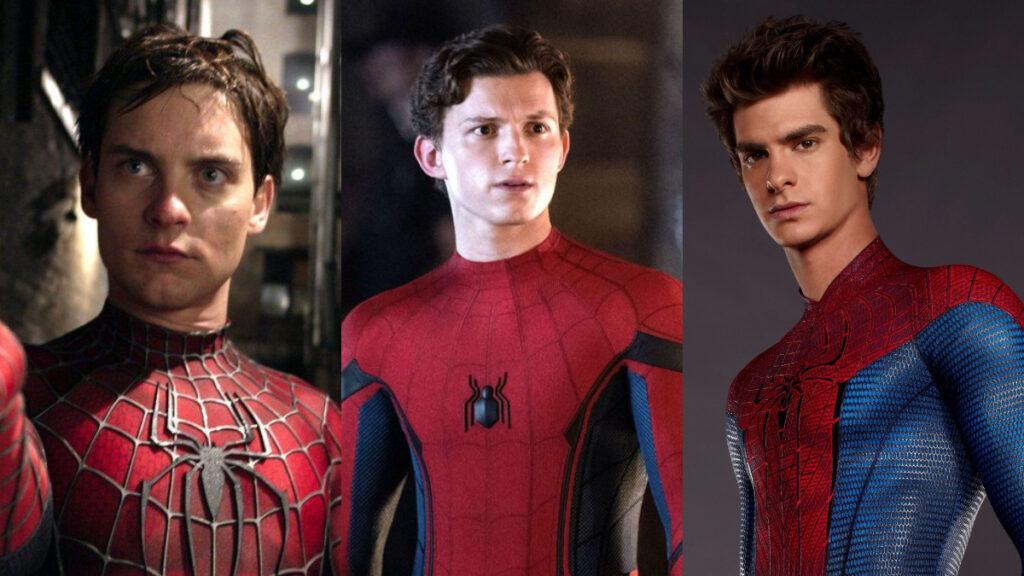 Tom Holland, Andrew Garfield y Tobey Maguire como Spider Man