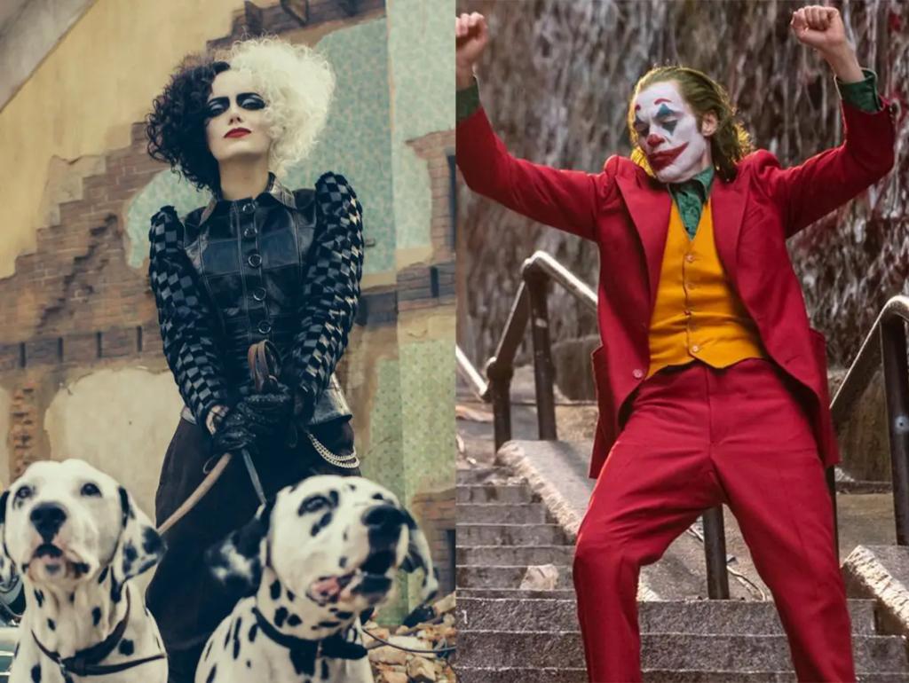 Emma Stone como Cruella y Joaquin Phoenix como Joker