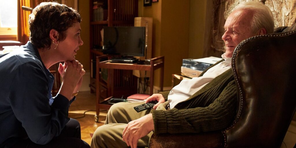 Anthony Hopkins y Olivia Colman en The Father