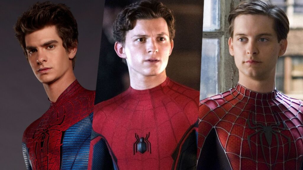 Tobey Maguire, Andrew Garfield and Tom Holland as Spider Man