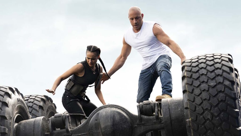 """(from left) Ramsey (Nathalie Emmanuel) and Dom (Vin Diesel) in """"F9,"""" directed by Justin Lin"""