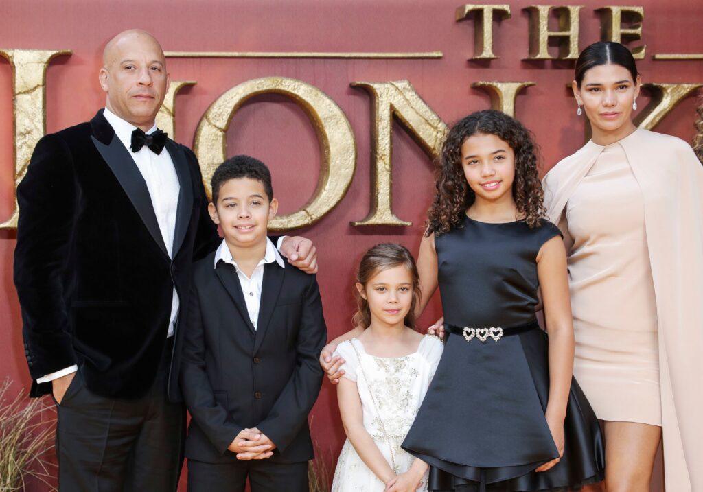 Mandatory Credit: Photo by Matt Baron/Shutterstock (10334185jp) Vin Diesel and Paloma Jimenez with family 'The Lion King' film premiere, London, UK - 14 Jul 2019
