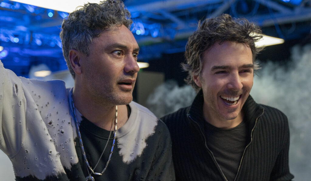 Taika Waititi and director Shawn Levy on the set of 20th Century Studios' FREE GUY
